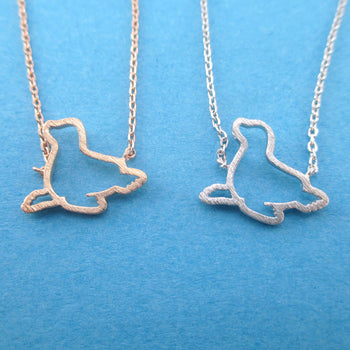 Minimal Sea Lion Seal Outline Shaped Charm Necklace in Silver or Rose Gold