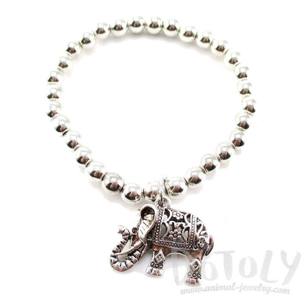 Minimal Silver Beaded Stretchy Bracelet with Elephant Charm | DOTOLY | DOTOLY