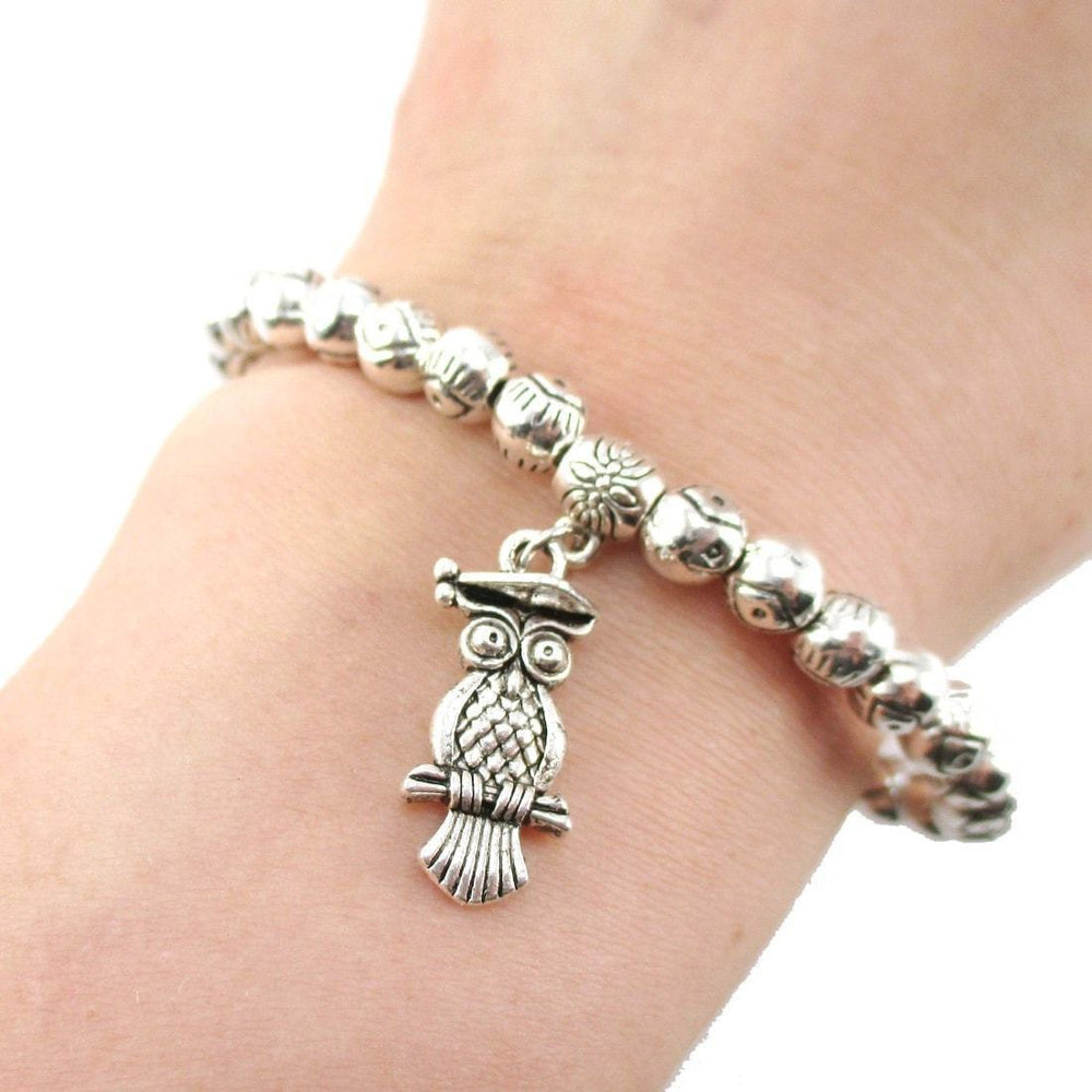 Minimal Silver Evil Eye Beaded Stretchy Bracelet with Owl Charm | DOTOLY | DOTOLY