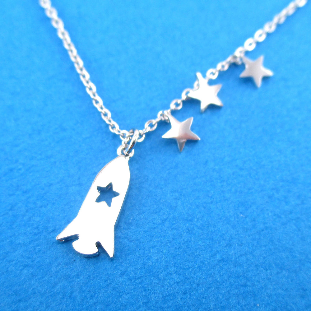 Spaceship Spacecraft Rocket and Stars Shaped Pendant Necklace