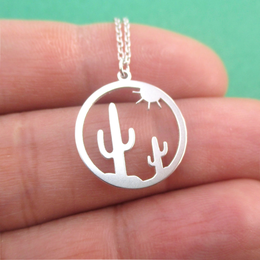 Minimal Sunset On The Desert Cactus Silhouette Dye Cut Pendant Necklace