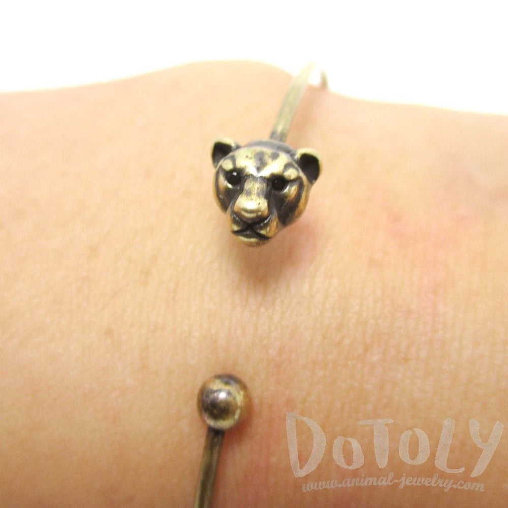 Minimal Tiger Bangle Bracelet Cuff in Brass | Animal Jewelry | DOTOLY