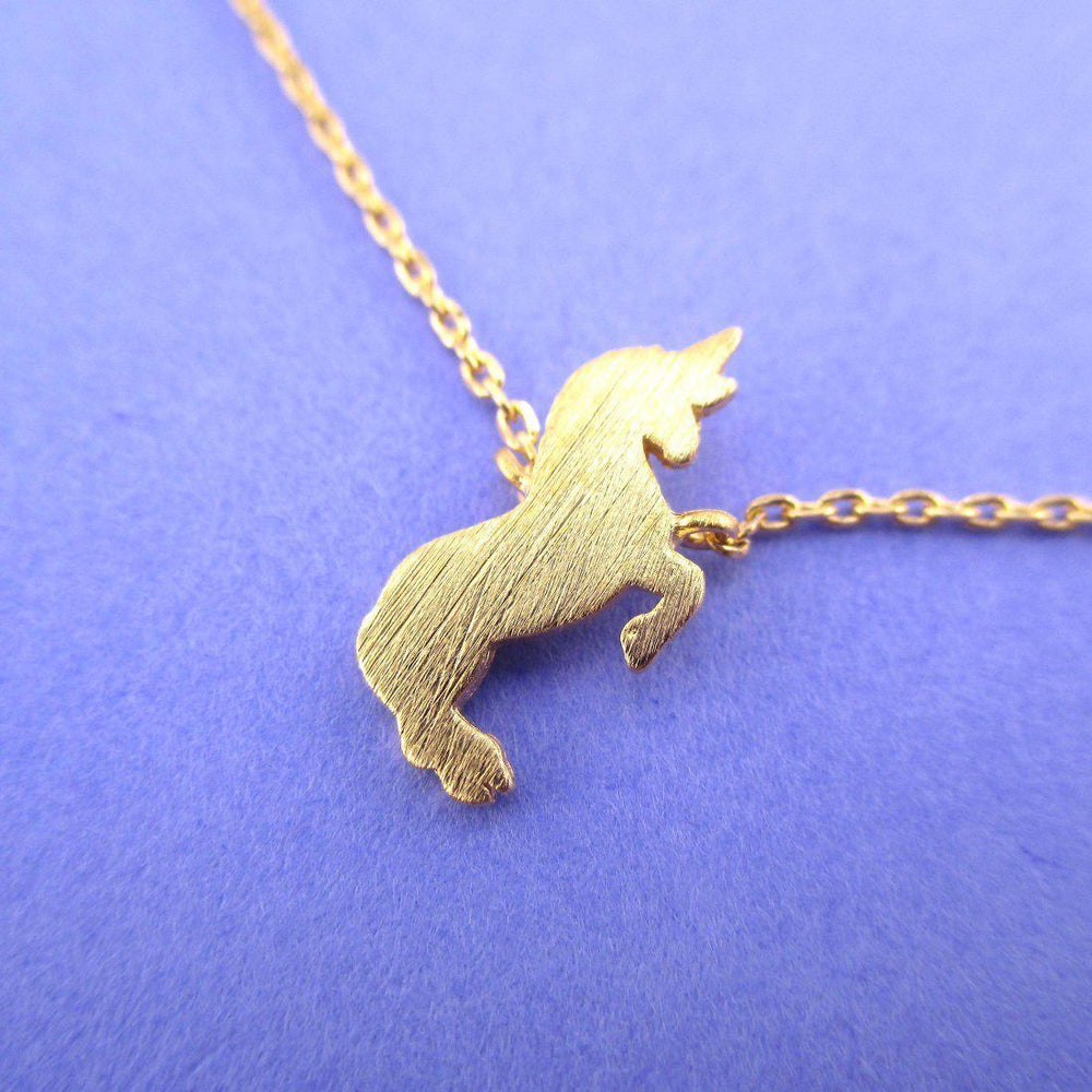 Minimal Unicorn Silhouette Shaped Pendant Necklace in Silver or Gold