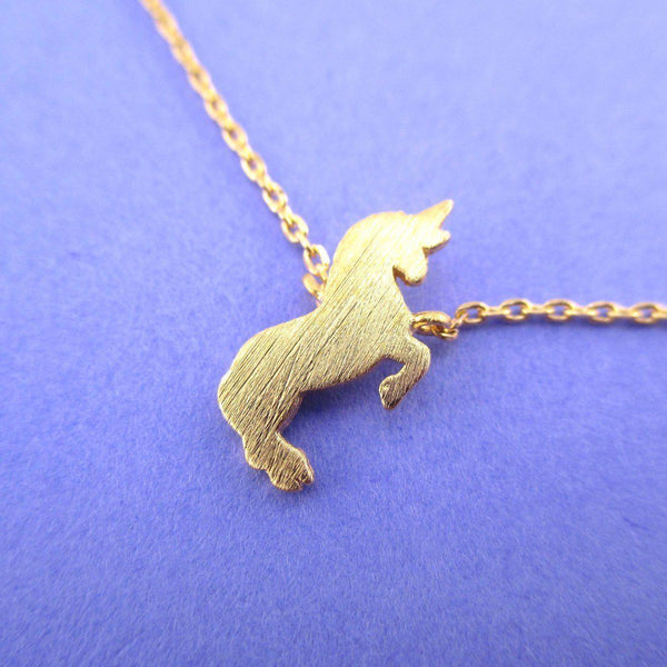 Minimal Unicorn Silhouette Shaped Pendant Necklace in Gold | DOTOLY