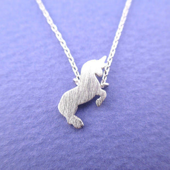 Minimal Unicorn Silhouette Shaped Pendant Necklace in Silver | DOTOLY