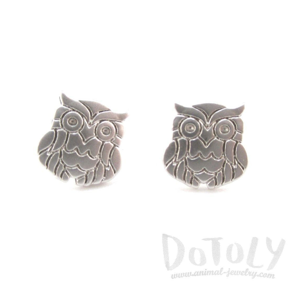 Minimal Wise Barn Owl Shaped Stud Earrings in Silver | Allergy Free | DOTOLY