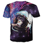 Monkey Chimpanzee Astronaut Smoking a Cigar in Space Print Graphic Tee | DOTOLY | DOTOLY