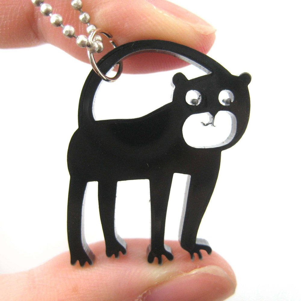 Monkey Silhouette Shaped Pendant Necklace in Black Acrylic | Animal Jewelry | DOTOLY