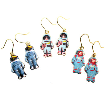 Monkey Sloth Astronaut in A Space Suit Space Travel Dangle Earrings