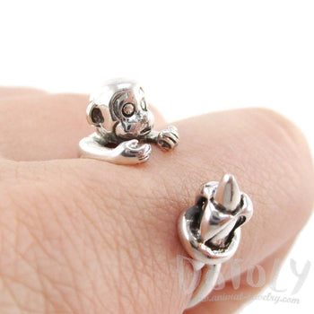 Monkey with Banana Animal Wrap Ring in 925 Sterling Silver | US Sizes 4 to 8.5 | DOTOLY