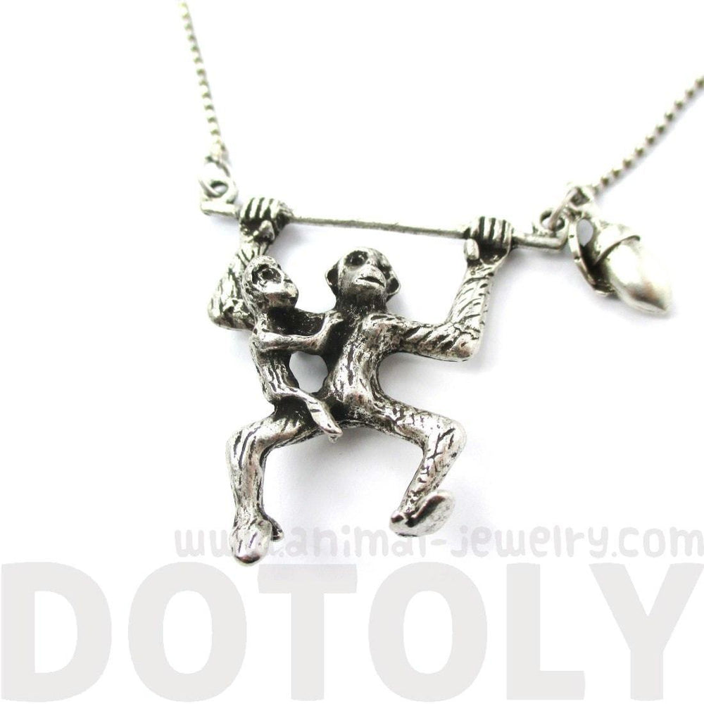 Mother and Baby Chimpanzee Monkey Swinging Shaped Animal Pendant Necklace in Silver | DOTOLY