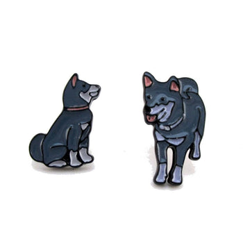 Mother and Baby Dog Puppy Pets Inspired Enamel Stud Earrings | DOTOLY