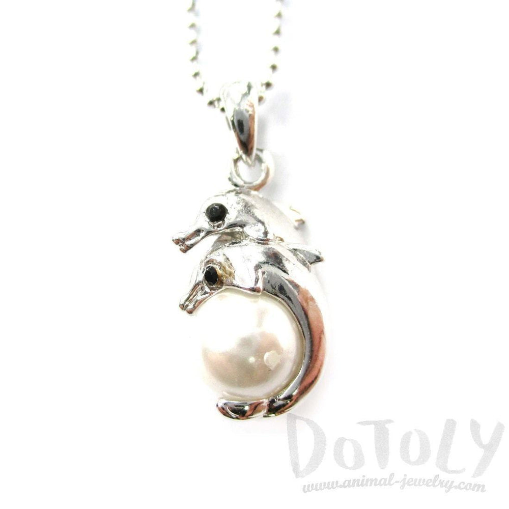 Mother and Baby Dolphin Shaped Pearl Pendant Necklace in Silver | DOTOLY