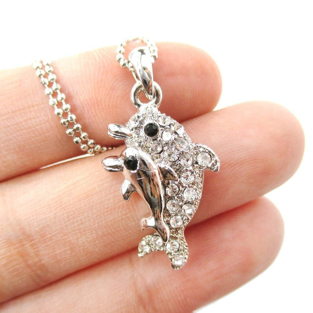Mother and Baby Dolphin Shaped Rhinestone Pendant Necklace in Silver | DOTOLY