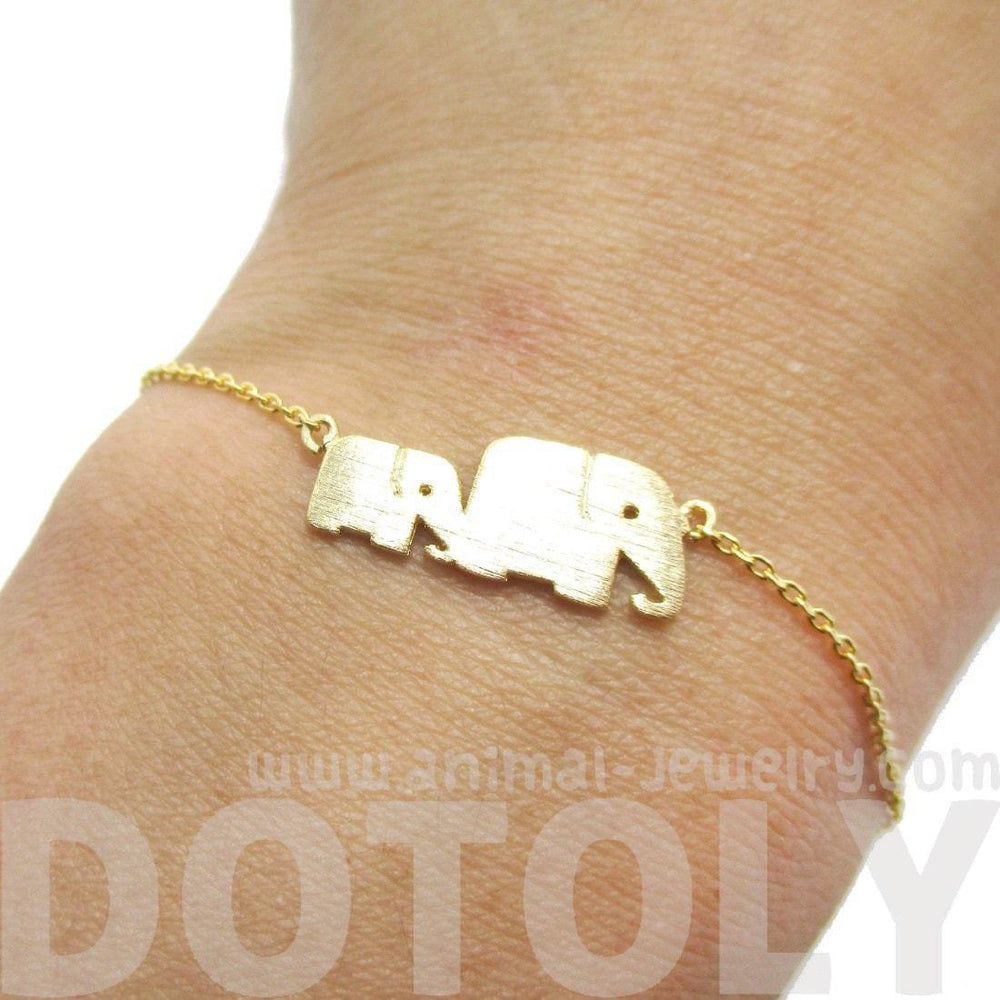 Mother and Baby Elephant Animal Silhouette Charm Bracelet in Gold | DOTOLY | DOTOLY