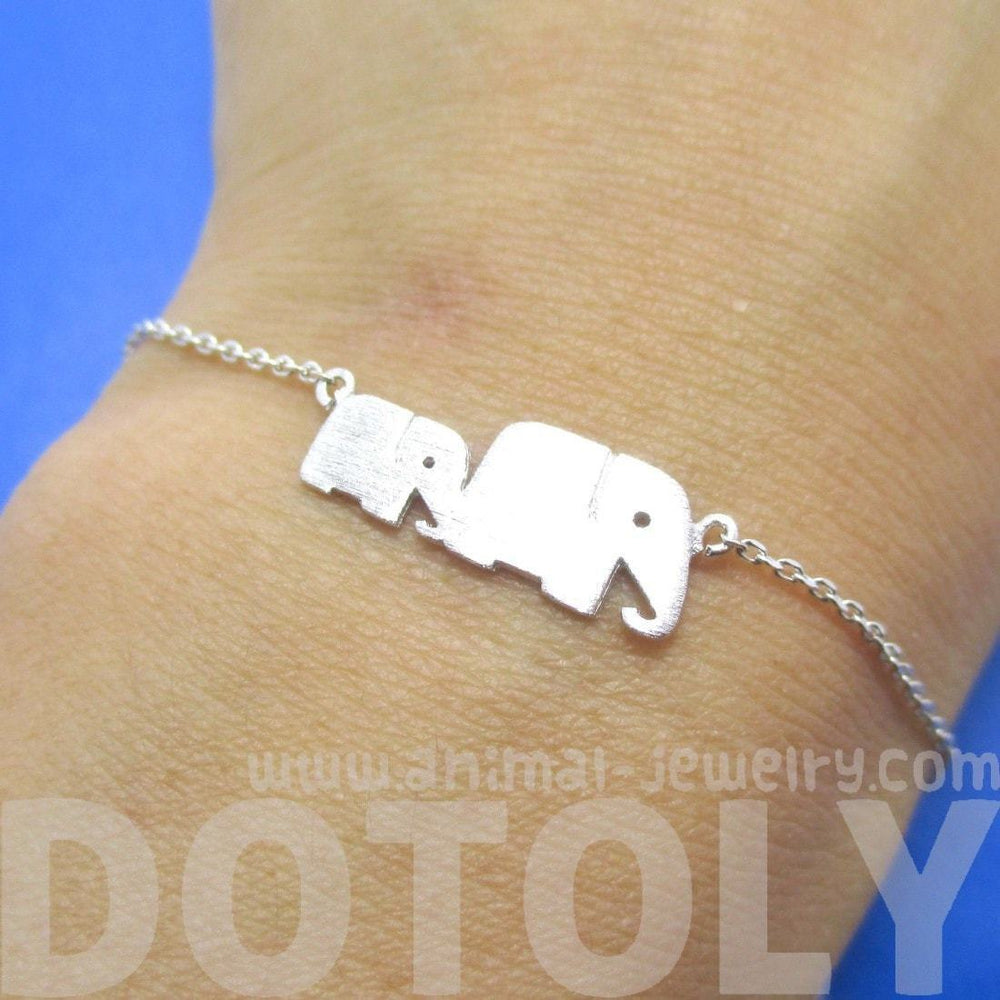 Mother and Baby Elephant Animal Silhouette Charm Bracelet in Silver | DOTOLY | DOTOLY