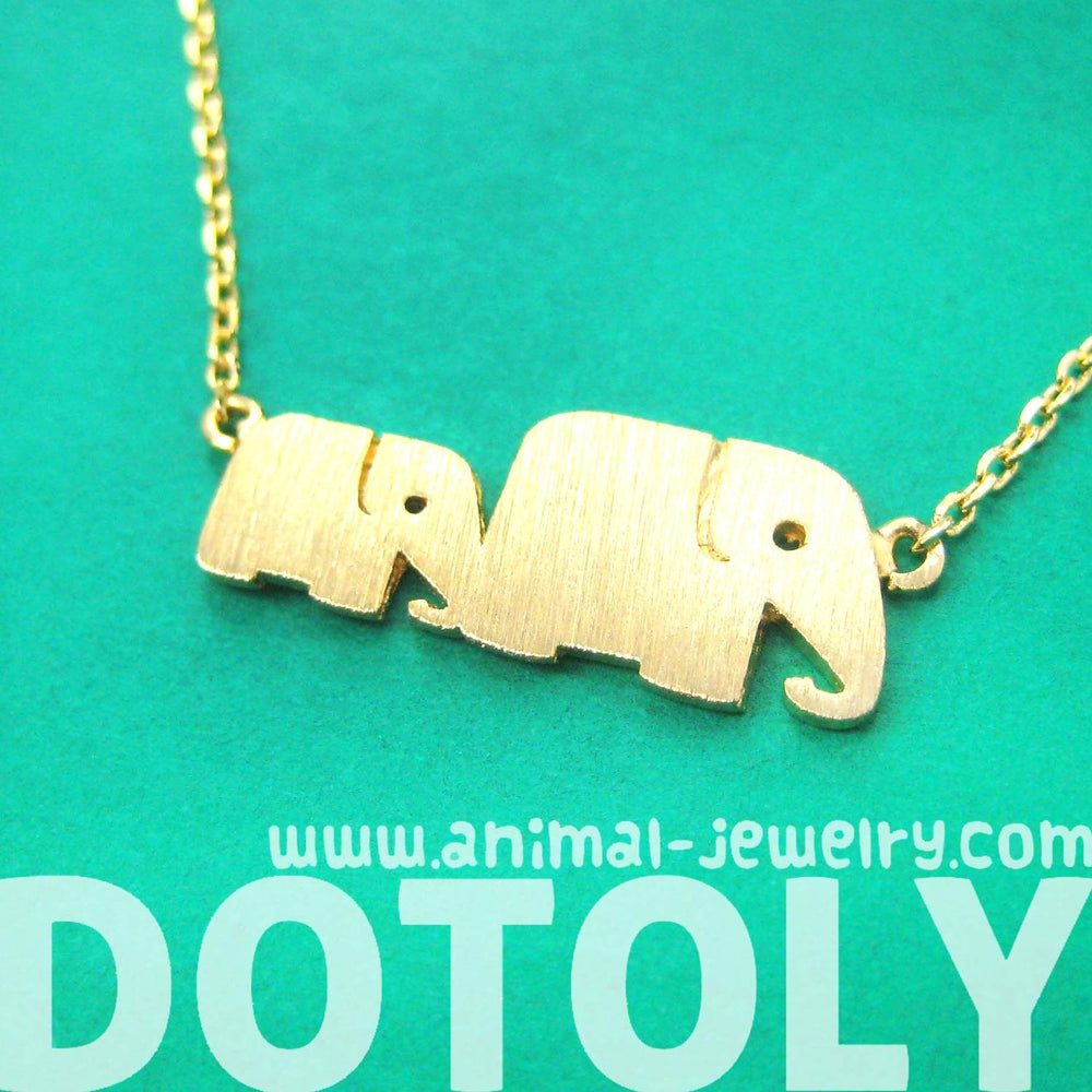 Mother and Baby Elephant Animal Silhouette Pendant Necklace in Gold | DOTOLY | DOTOLY