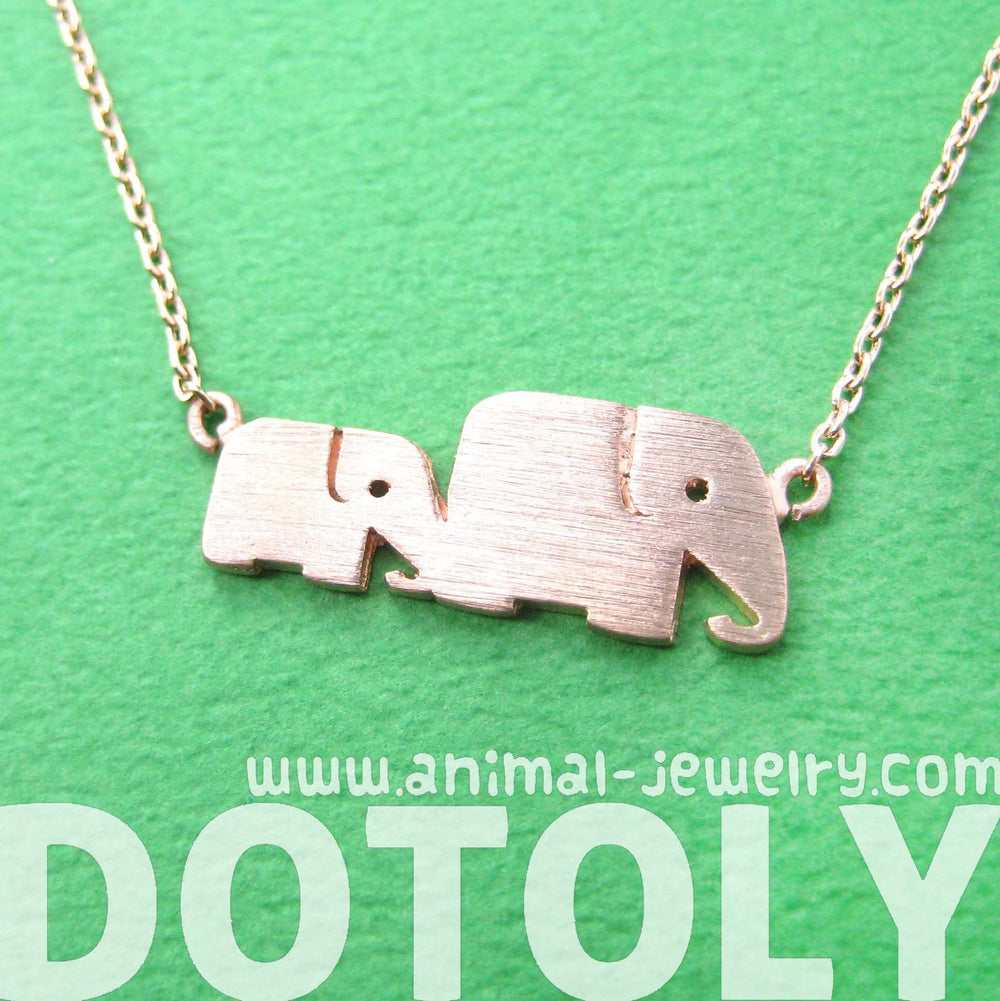 Mother and Baby Elephant Animal Silhouette Pendant Necklace in Rose Gold | DOTOLY | DOTOLY