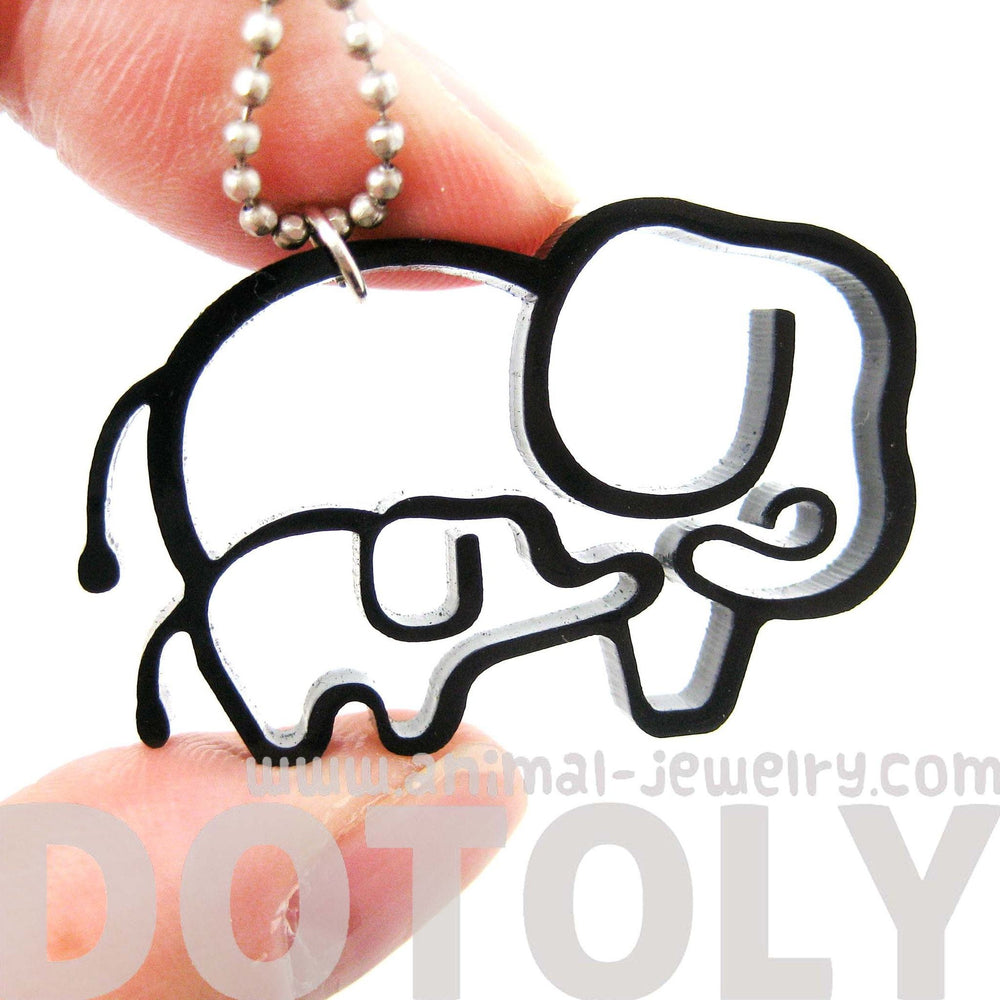 Mother and Baby Elephant Outline Shaped Pendant Necklace in Black Acrylic | DOTOLY | DOTOLY