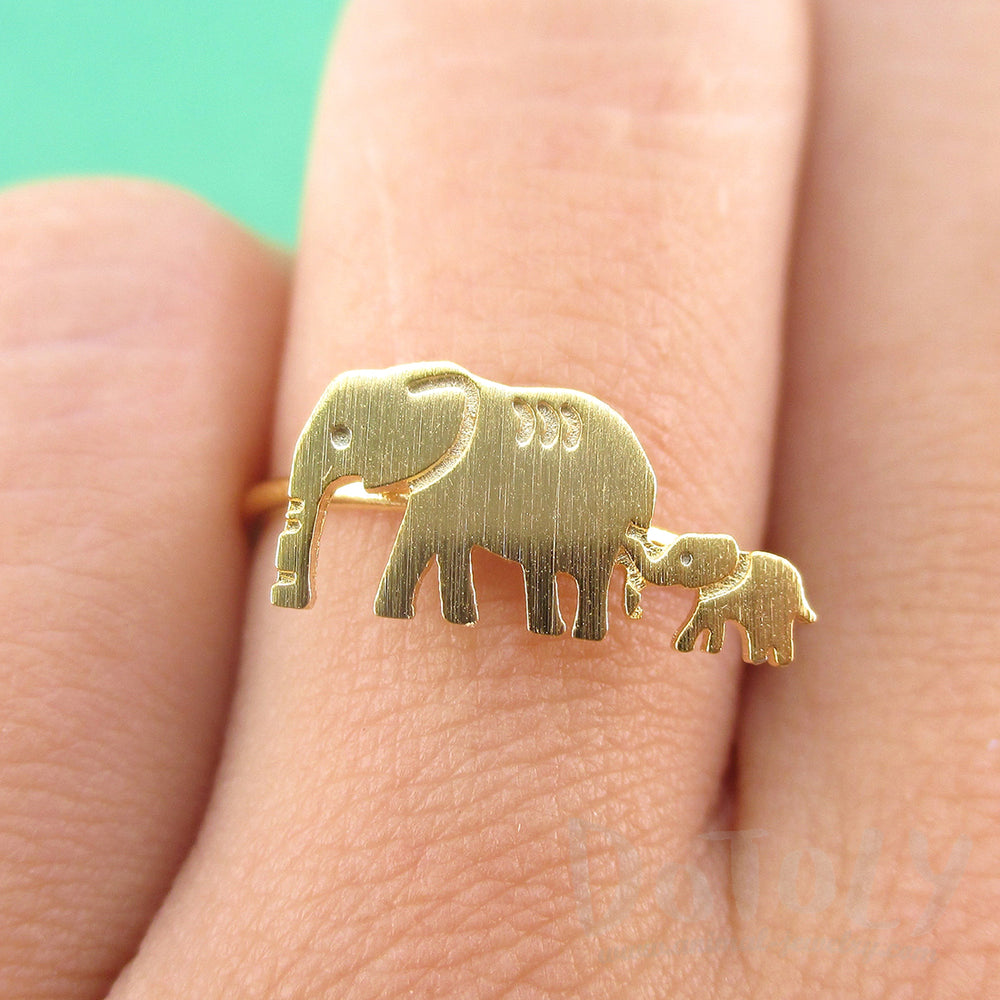 Mother and Baby Elephant Silhouette Shaped Adjustable Ring in Gold