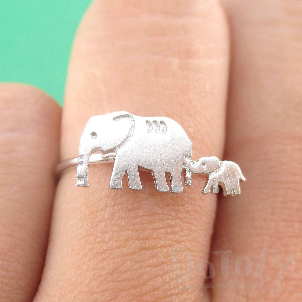 Mother and Baby Elephant Silhouette Shaped Adjustable Ring in Silver