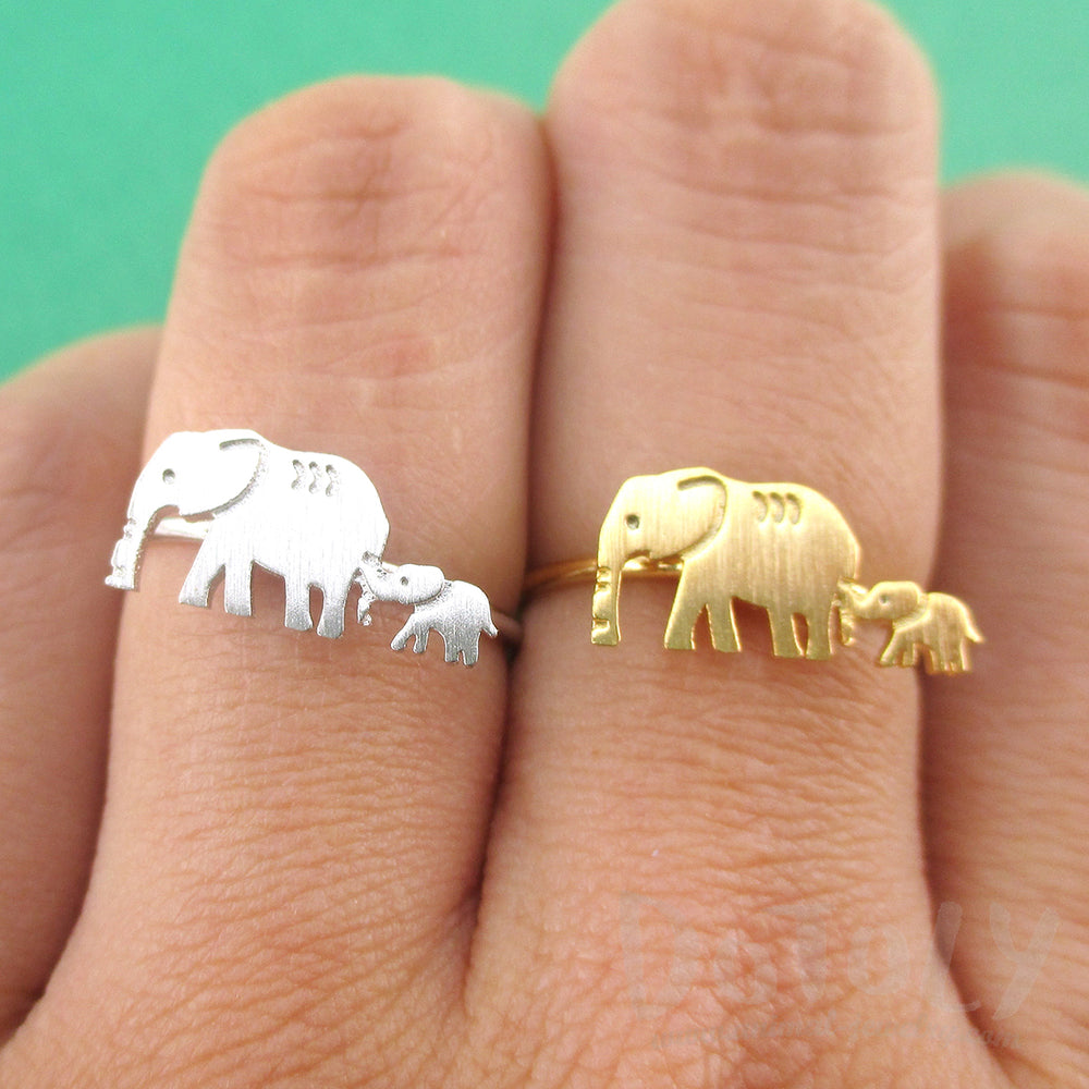 Mother and Baby Elephant Silhouette Shaped Adjustable Ring | DOTOLY