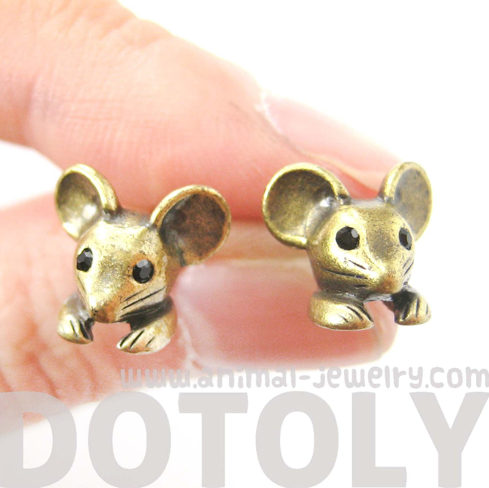 Mouse Mice Realistic Animal Stud Earrings in Brass | Animal Jewelry | DOTOLY