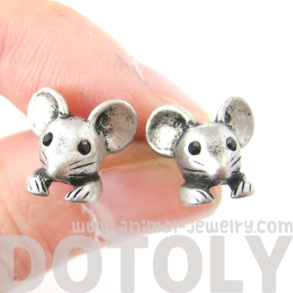 Mouse Mice Realistic Animal Stud Earrings in Silver | Animal Jewelry | DOTOLY