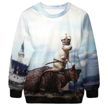 Mouse Musketeer Riding Cat All Over Print Pullover Sweatshirt Sweater | Gifts for Animal Lovers | DOTOLY