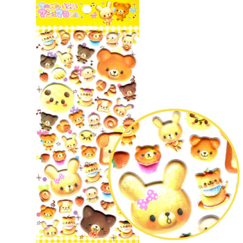 Muffin Bread Shaped Bear and Panda Animal Shaped Puffy Stickers for Scrapbooking | DOTOLY