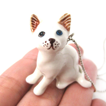 Multi Colored Odd Eyed White Kitty Cat Porcelain Ceramic Animal Pendant Necklace | Handmade | DOTOLY