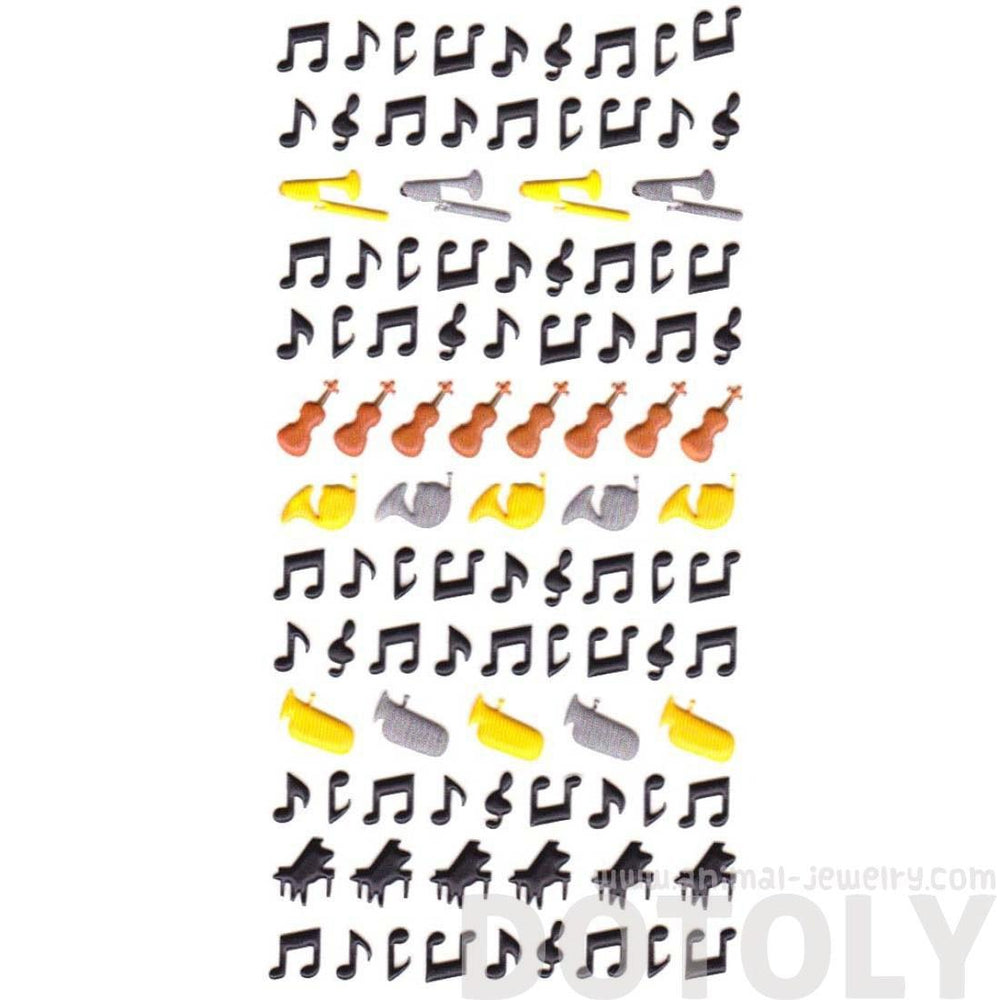 Musical Notes Piano Violin Trumpet Horn Shaped Music Themed Puffy Stickers | DOTOLY