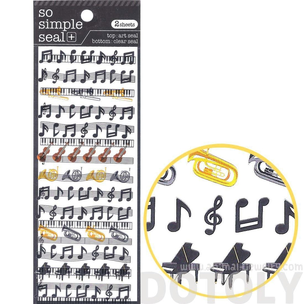 Musical Scores Notes and Instruments Music Themed Stickers | 2 Sheets | DOTOLY