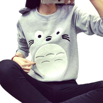 My Neighbor Totoro Face Print Long Sleeve Pullover Sweatshirt Sweater for Women | DOTOLY