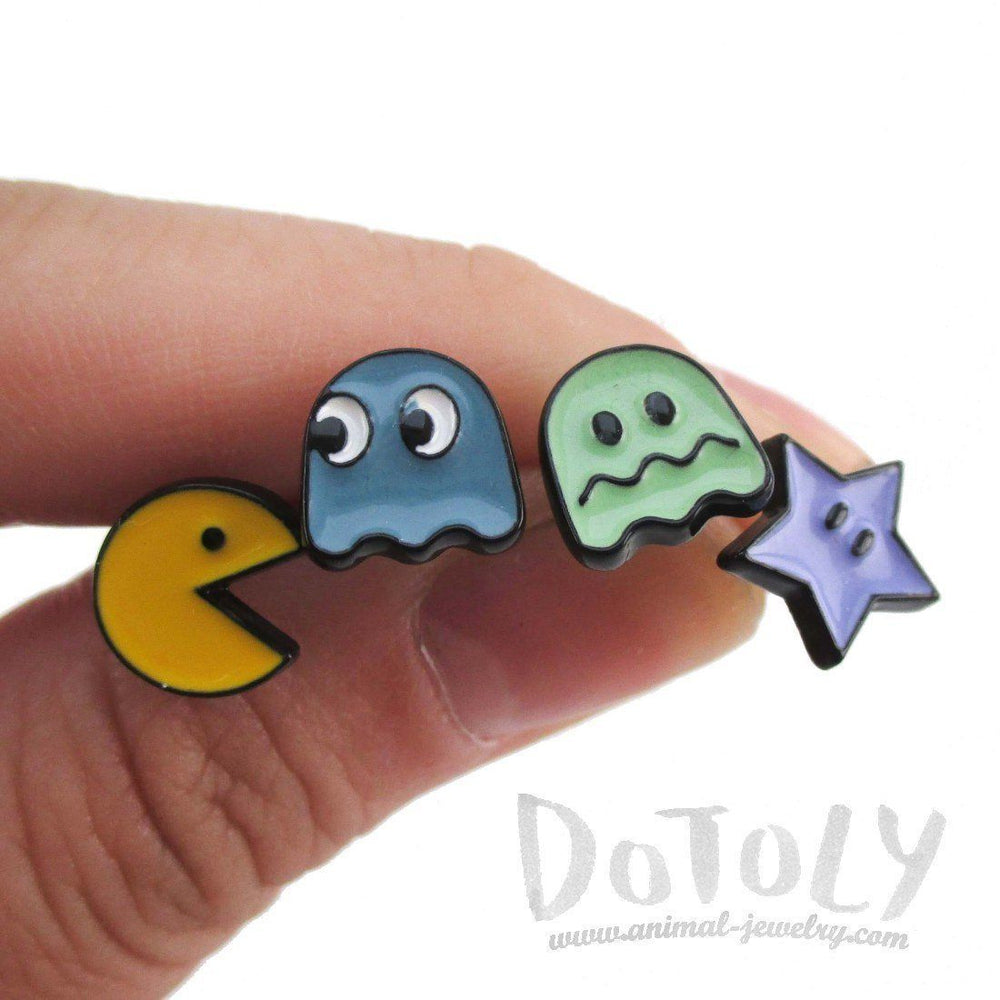 Namco Pac-Man and Ghost 4 Piece Stud Earring Set in Green | DOTOLY