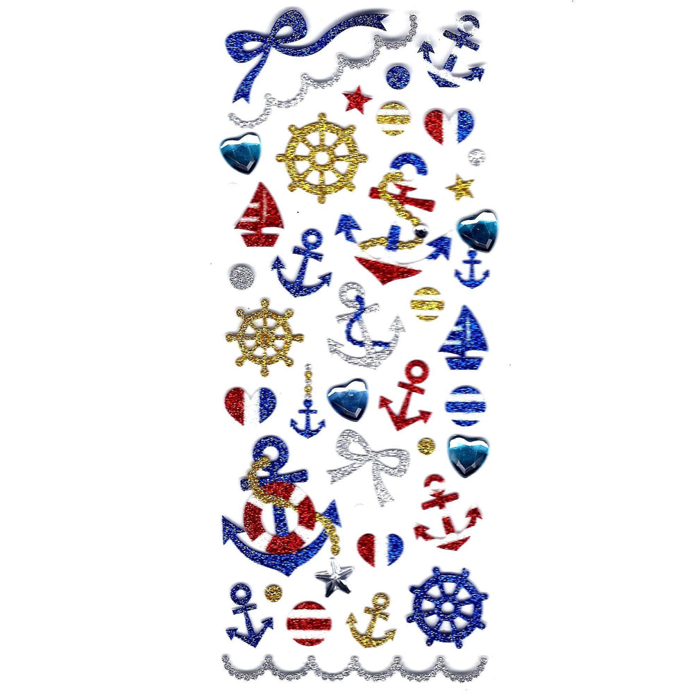 Nautical Themed Anchor Helm Navy Glittery Decorative Stickers | DOTOLY