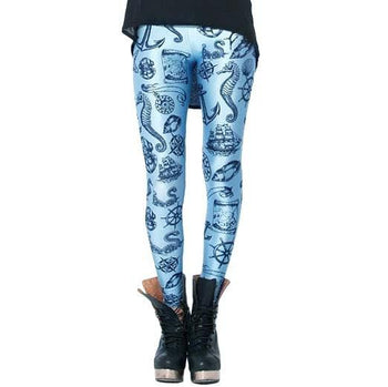 Nautical Themed Anchor Seahorse Sea Shells Digital Print Leggings in Blue | DOTOLY