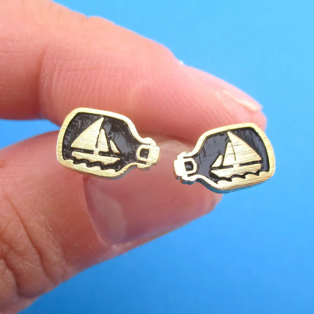 Nautical Themed Ship In A Bottle Shaped Stud Earrings in Gold or Silver