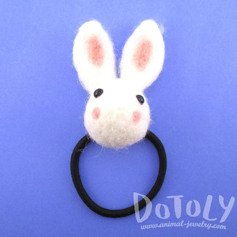 Needle Felted Wool Bunny Rabbit Hair Tie in White | DOTOLY | DOTOLY