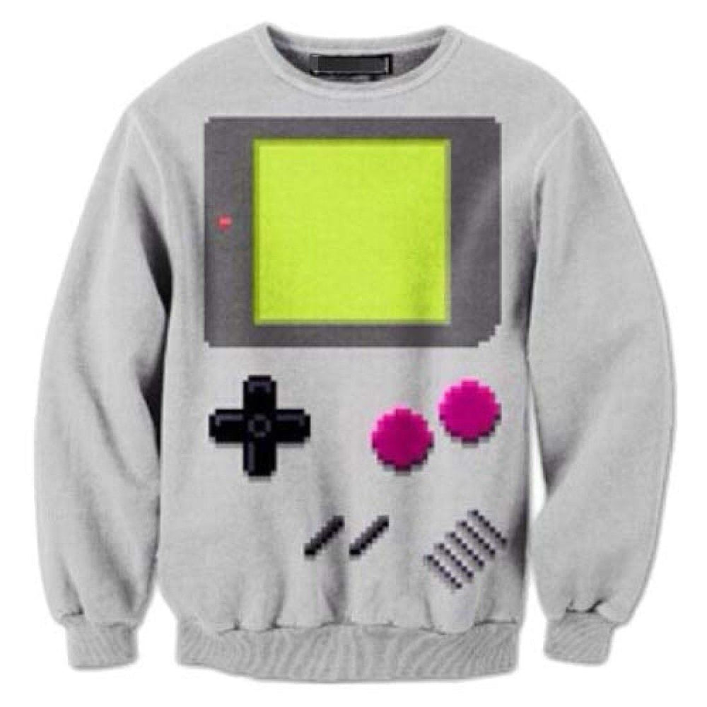 Nintendo Game Boy All Over Print Crew Neck Pullover Sweater in Grey | DOTOLY | DOTOLY