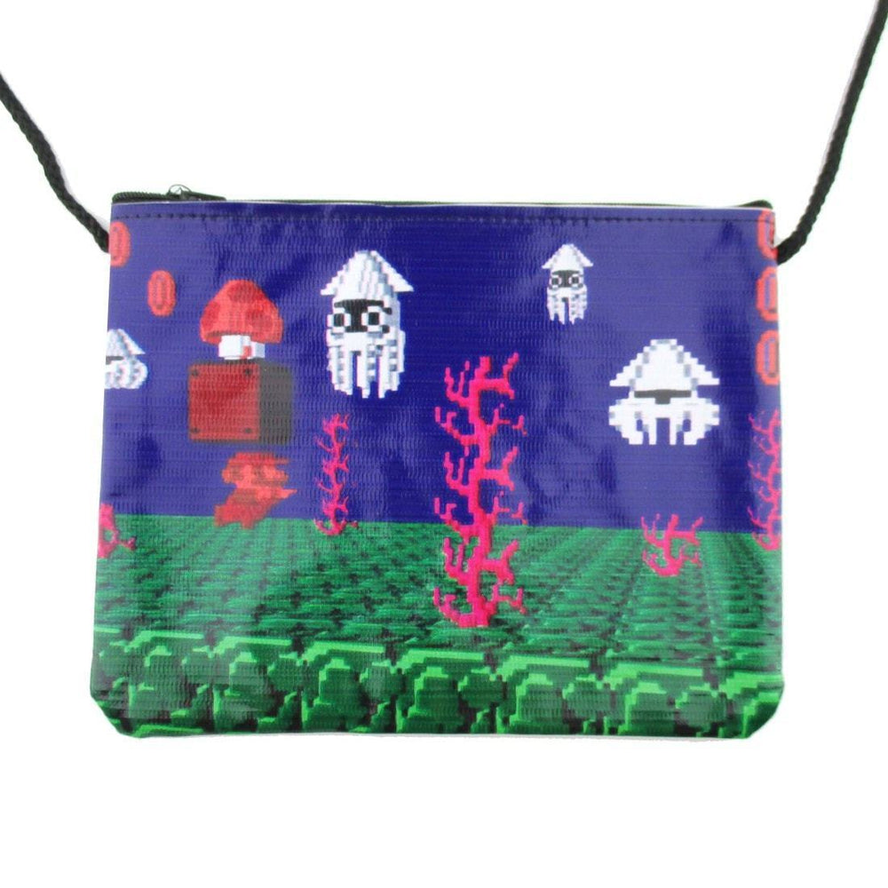 Nintendo Super Mario Underwater Blooper 8-Bit Print Rectangular Shaped Cross Body Bag | DOTOLY
