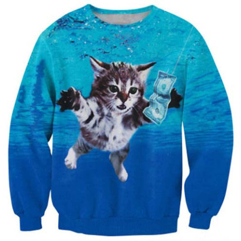 Nirvana Nevermind Kitty Cat Parody All Over Print Unisex Pullover Sweater | DOTOLY