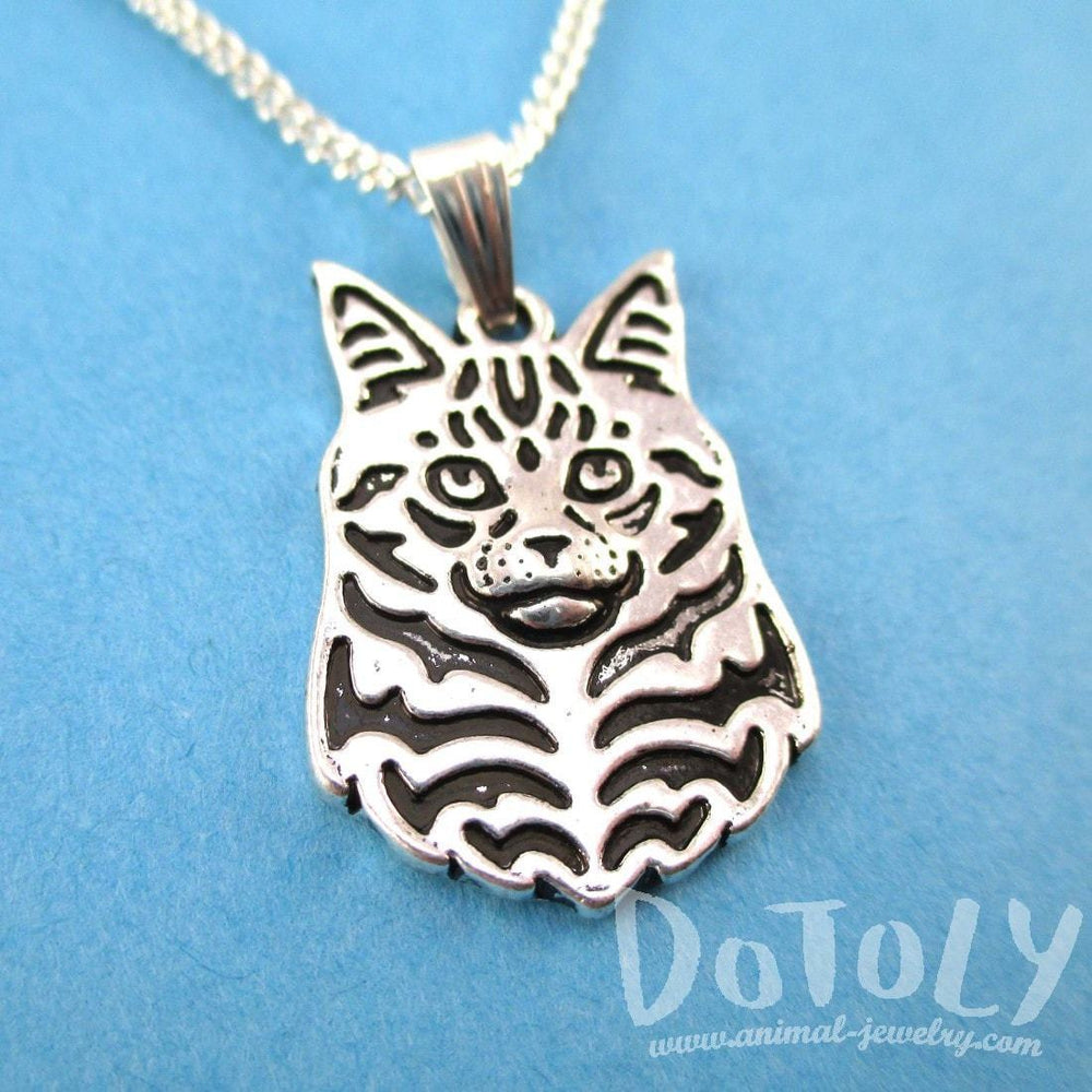 Norwegian Forest Cat Face Shaped Pendant Necklace in Silver | Animal Jewelry | DOTOLY