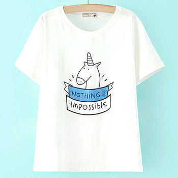 Nothing is Impossible Unicorn Print Cotton Graphic Tee | DOTOLY | DOTOLY