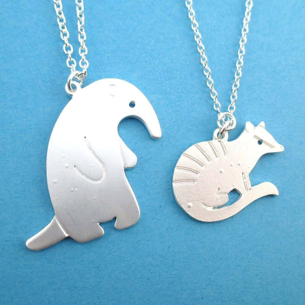 Numbat Anteater Shaped 2 Piece Necklace Set in Silver | Animal Jewelry