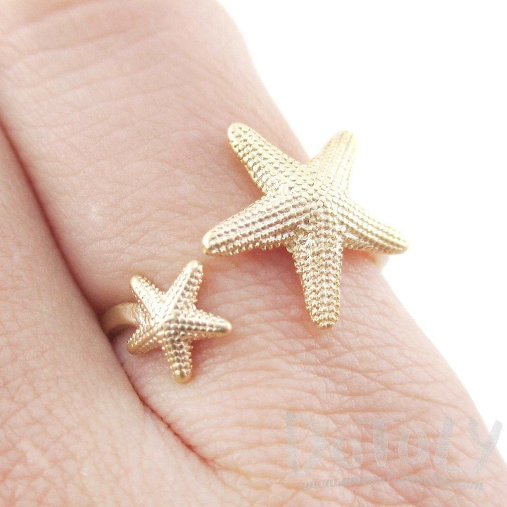 Ocean Inspired Starfish Shaped Open Adjustable Ring in Gold | DOTOLY | DOTOLY