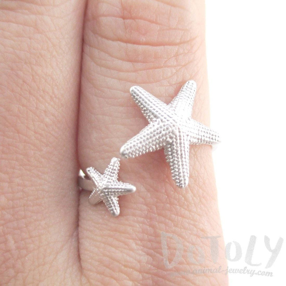 Ocean Inspired Starfish Shaped Open Adjustable Ring in Silver | DOTOLY | DOTOLY