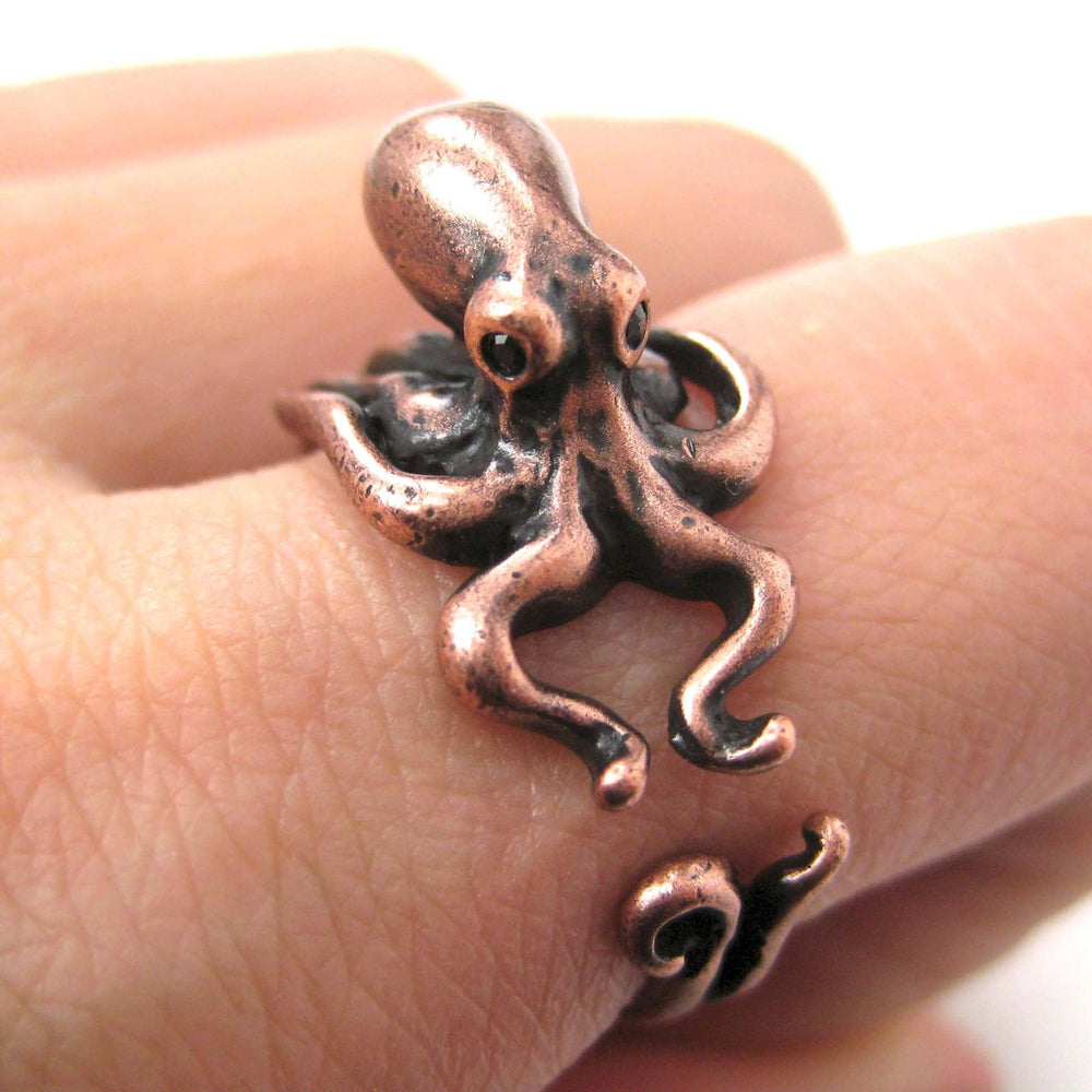 Octopus Squid Sea Animal Wrap Around Hug Ring in Copper | US Size 4 to 9 | DOTOLY