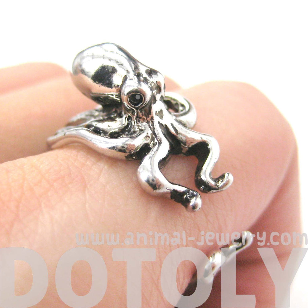 Octopus Squid Sea Animal Wrap Around Hug Ring in Shiny Silver | US Size 4 to 9 | DOTOLY