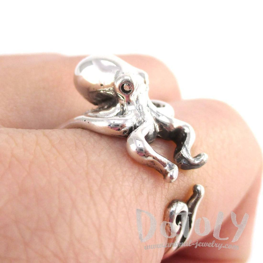 Octopus Squid Shaped Wrap Around Animal Ring in 925 Sterling Silver